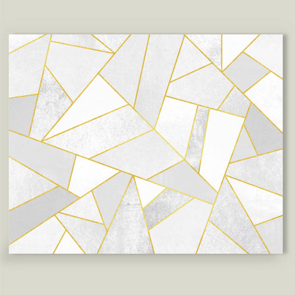 """White Stone with Gold Lines"" by Elisabeth Fredriksson, BoomBoom Prints"