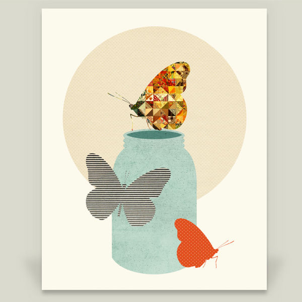 """Butterfly Jar - Orange"" by Field and Sky, BoomBoom Prints"