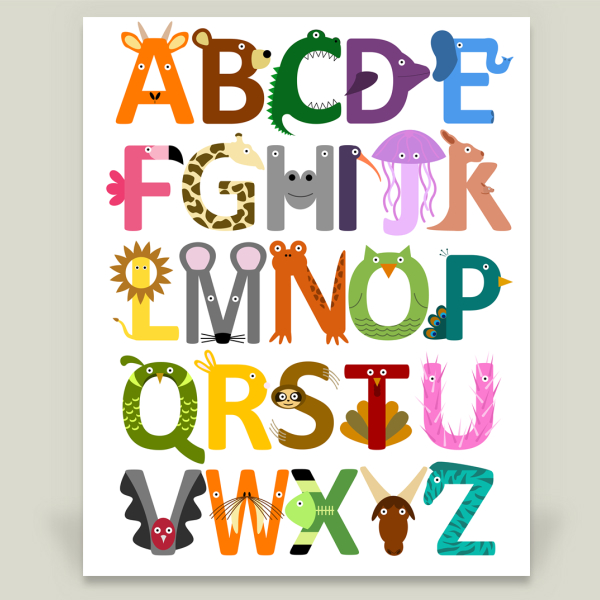 """Animal Alphabet"" by Green Zebra Graphics, BoomBoom Prints"