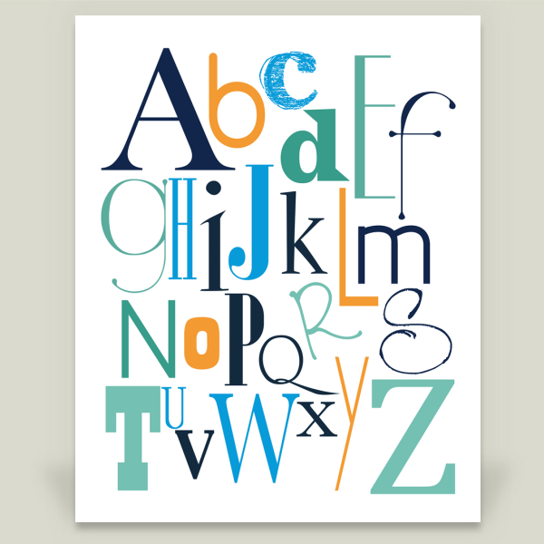 """ABC Alphabet in Greens, Blues and Orange"" by IndigoRain, BoomBoom Prints"