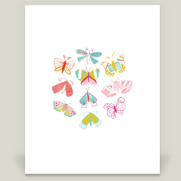 """Summer Moths"" by Jill Byers, BoomBoom Prints"