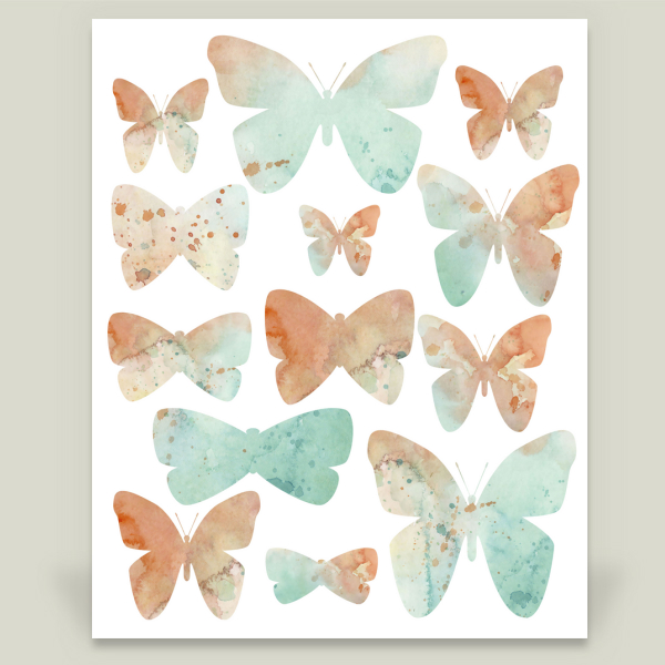 """Peachy Mint Butterflies"" by Katrina Pete, BoomBoom Prints"