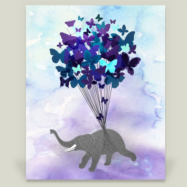 """Elephant Butterfly"" by Squeaky Studio, BoomBoom Prints"