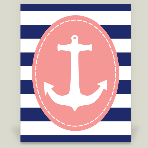 """Pink and Navy Anchor"" by The Lion and the Lark, BoomBoom Prints"