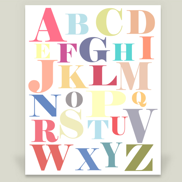 """Colorful Alphabet"" by The Nesting Spot, BoomBoom Prints"