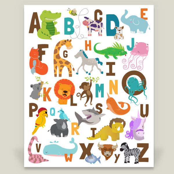 """Animal Alphabet Jungle Safari"" by Tiffany Everett, BoomBoom Prints"