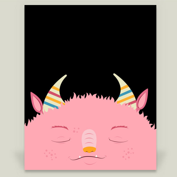 """Snoozy Monster"" Art Print by Amy Newhouse, BoomBoom Prints"