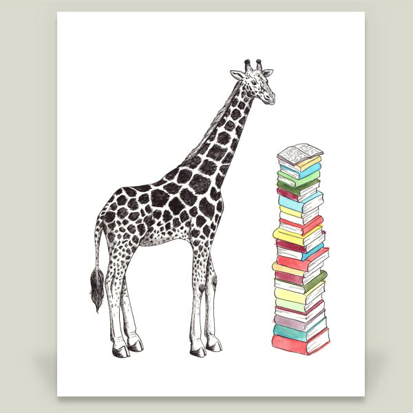 """Giraffe with Books"" Art Print by Erin A Ellis"