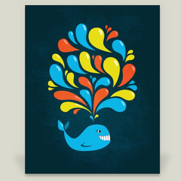 """Dark Colorful Splash Happy Cartoon Whale"" by Boriana Giormova"