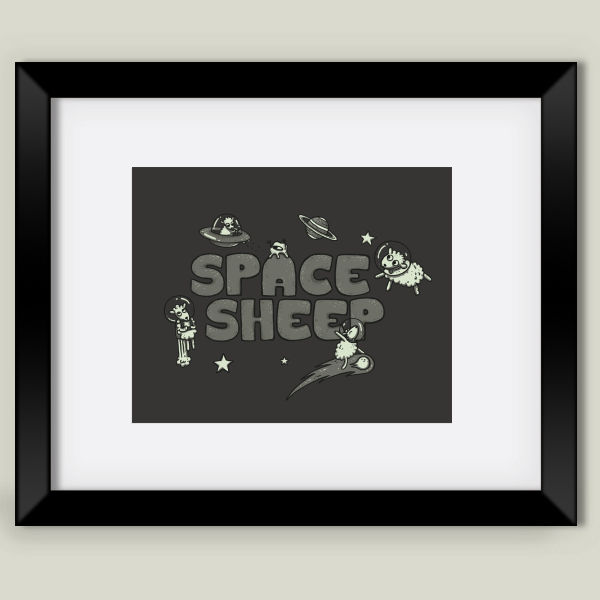 """Space Sheep"" Framed Art Print by Lili Batista"
