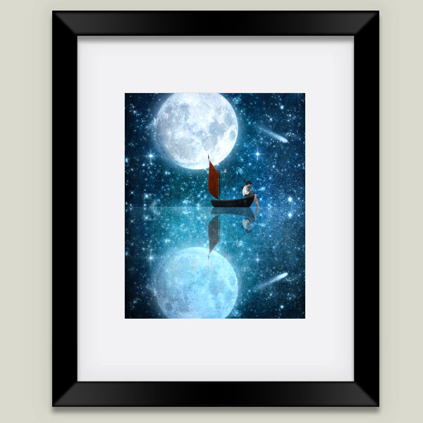 """The Moon and Me"" Framed Art Print by BBP Artist Diogo Verissimo"