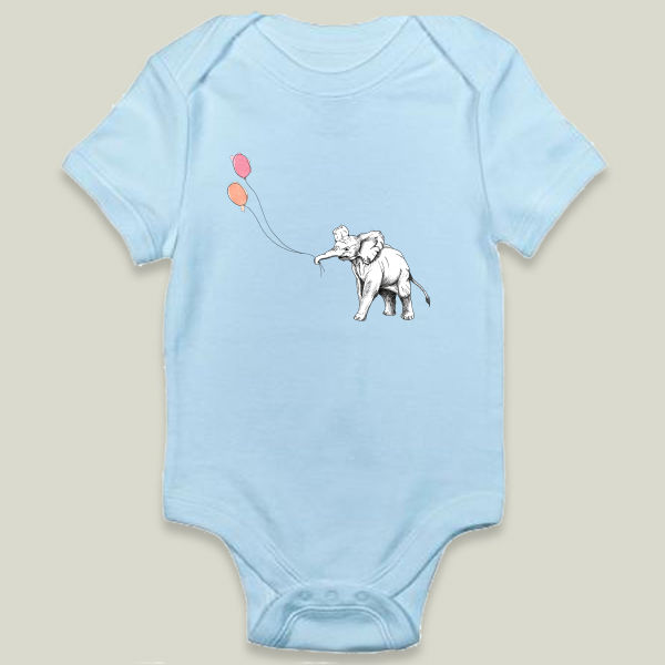 """Elephant with Balloons"" Onesie by Erin A Ellis"