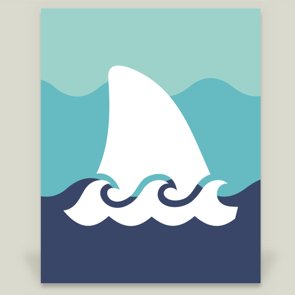 """Shark Blue Ombre"" by Two White Owls, BoomBoom Prints"