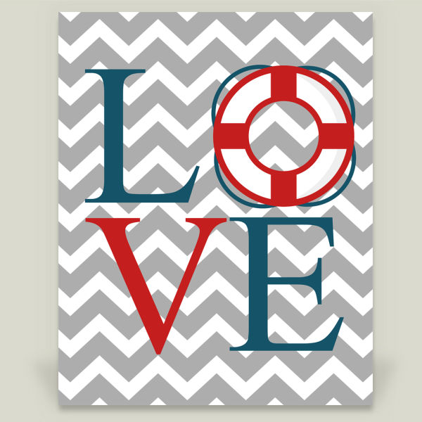 """Nautical Chevron Love"" by Uni Q Creations, BoomBoom Prints"