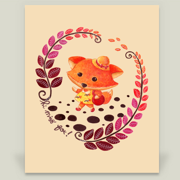 """Hello Miss Fox"" by Haidi Shabrina, BoomBoom Prints"