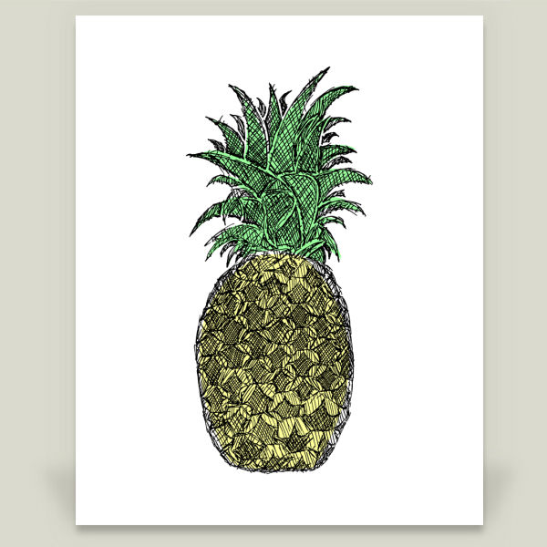 """Pineapple Sketch"" by Hinterlund, BoomBoom Prints"