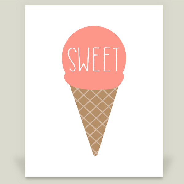 """Sweet Ice Cream Cone Pink"" by The Lion and The Lark, BoomBoom Prints"