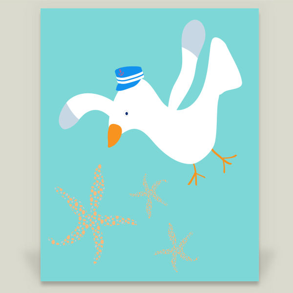 """Little Captain Seagull"" Art Print by BBP Artist May Leong Design"