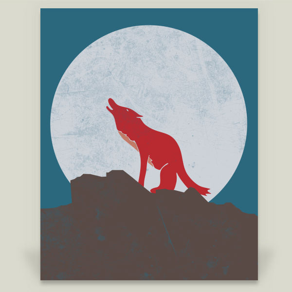 """A Wolf In The Moon"" Art Print by BBP Artist Well Designed"
