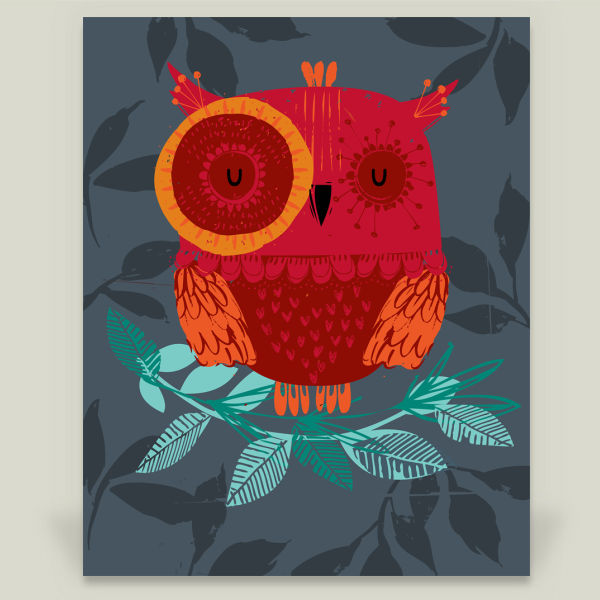 """Night Owl"" Art Print by Helen Black Designs"