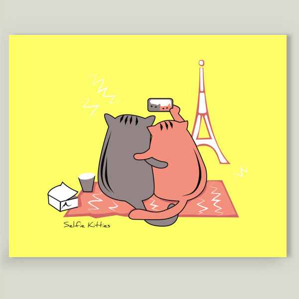 """Selfie Kitties"" Art Print by BBP Artist Alice Chaine"