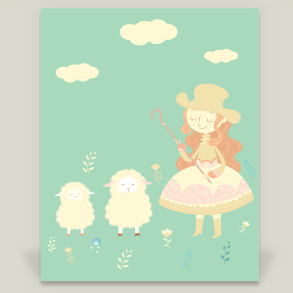 """The Shepherdess and Sheep"" Art Print by BBP Artist Xiran Wang"