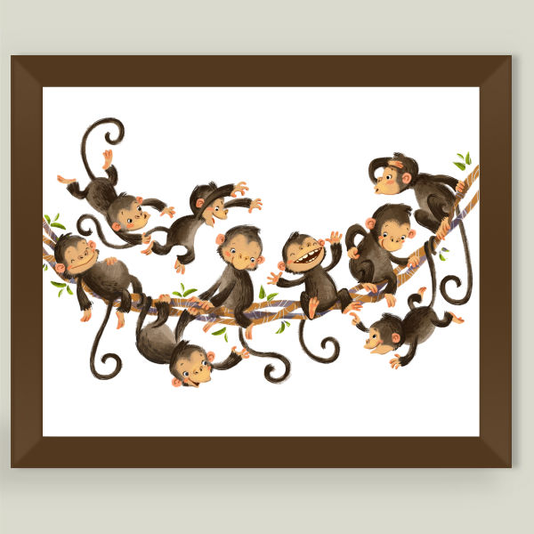 """Little monkeys"" Framed Art Print by BBP Artist Anna Chernyshova"