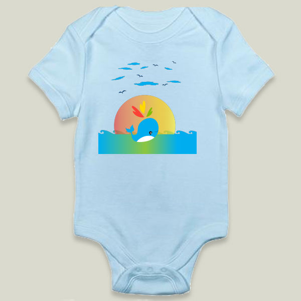 """Playful Little Whale"" Onesie by BBP Artist May Leong Design"