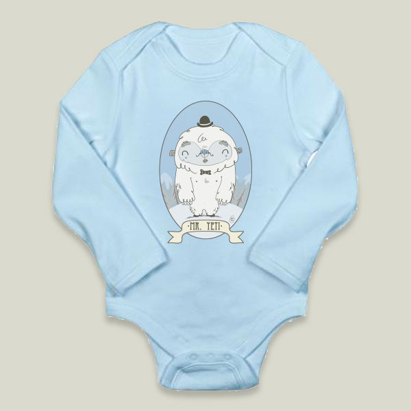 """Mr Yeti"" Long-Sleeve Onesie by BBP Artist Maria Medel"