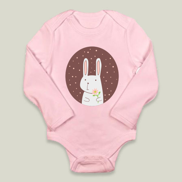 """Rabbit with flower"" Long-Sleeve Onesie by BBP Artist brynza"