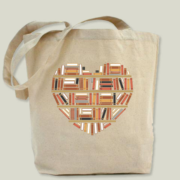 """I heart books"" Tote Bag by BBP Artist Adam"
