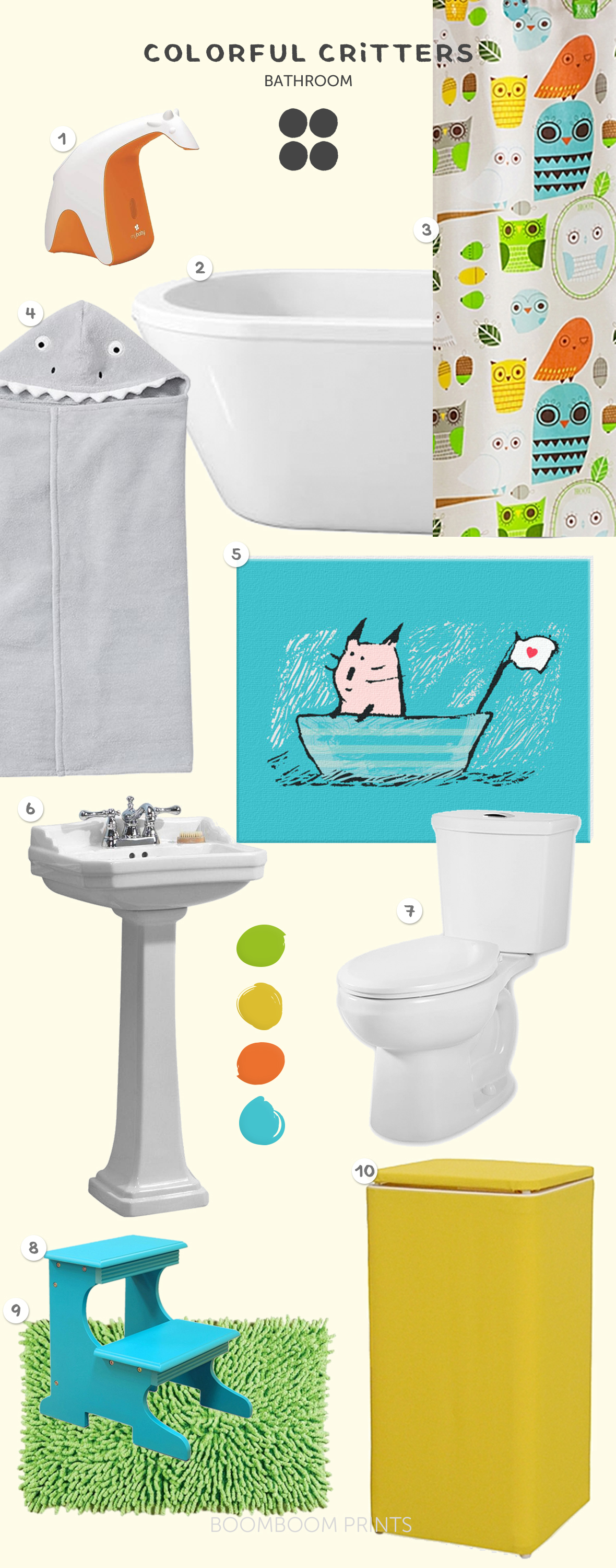 Carla Martell's Colorful Critters kids bathroom