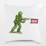 Nostalgic Green Army Man Throw Pillow by Emily Mercedes