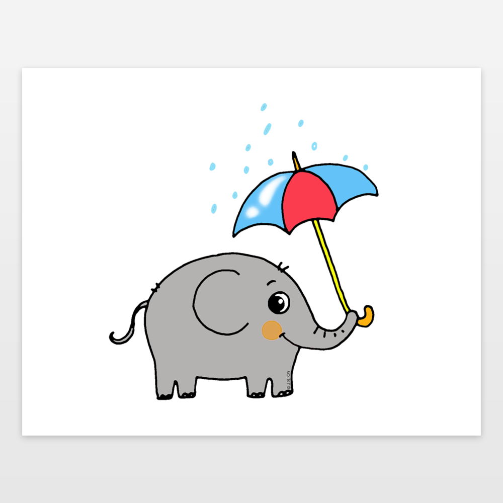 Baby Elephant With A Blue And Red Umbrella Art Print By