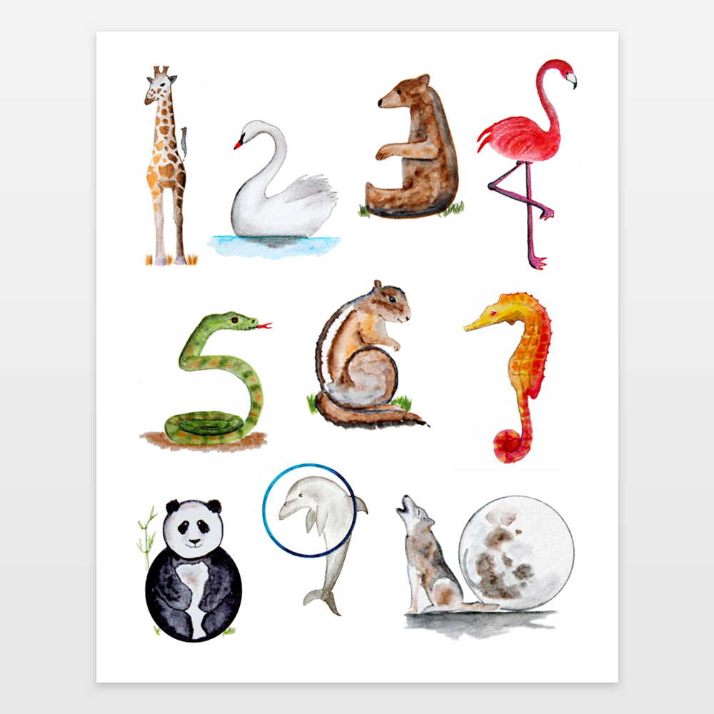 Animal Numbers With Watercolor Animals In The Shape Of