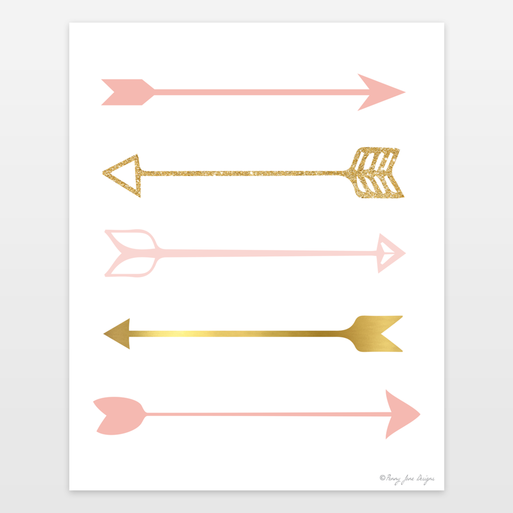 pink and gold arrows art print for nursery decor art print by