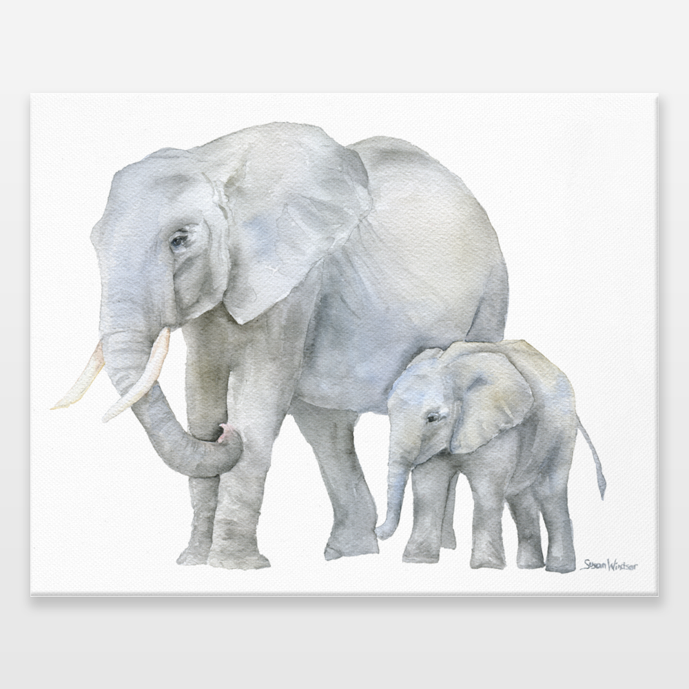 Elephants Watercolor