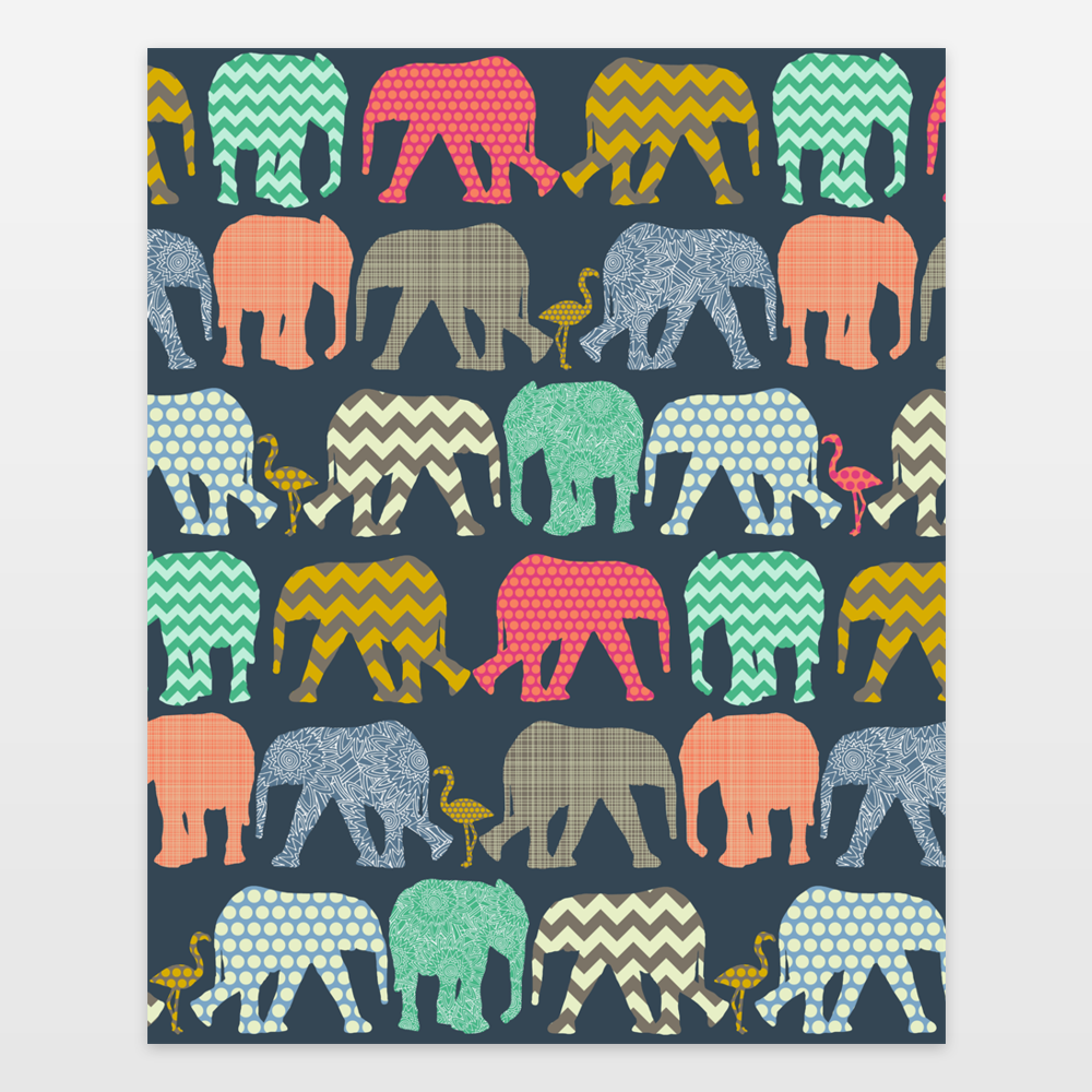 baby elephants and flamingos