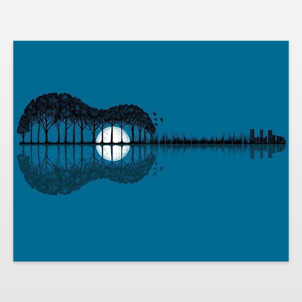 Trees Sea And The Moon Turned Guitar Art Print By Pashatp