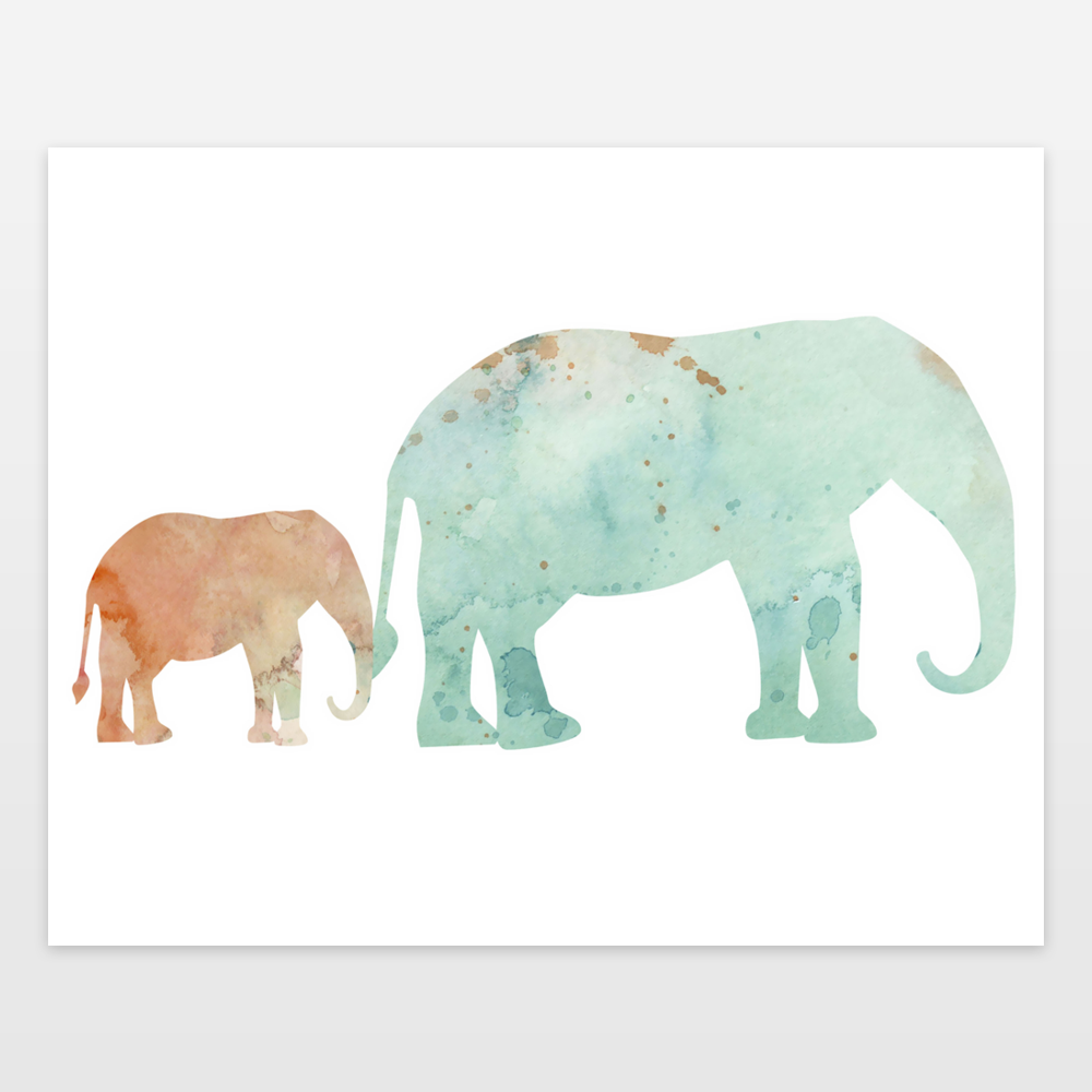 peachy mint elephant mom and baby art print by goodnightmoon on