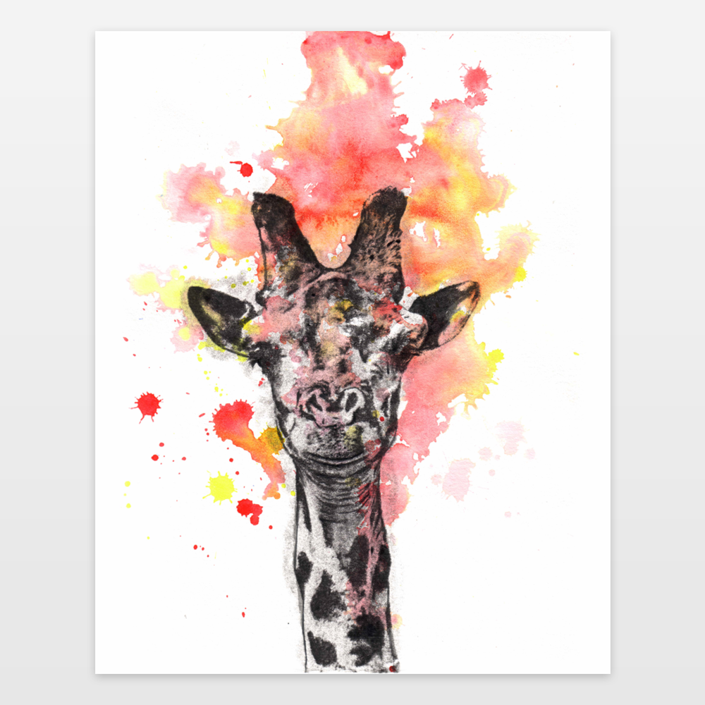 Portrait Of A Smiling Giraffe Painting Art Print By