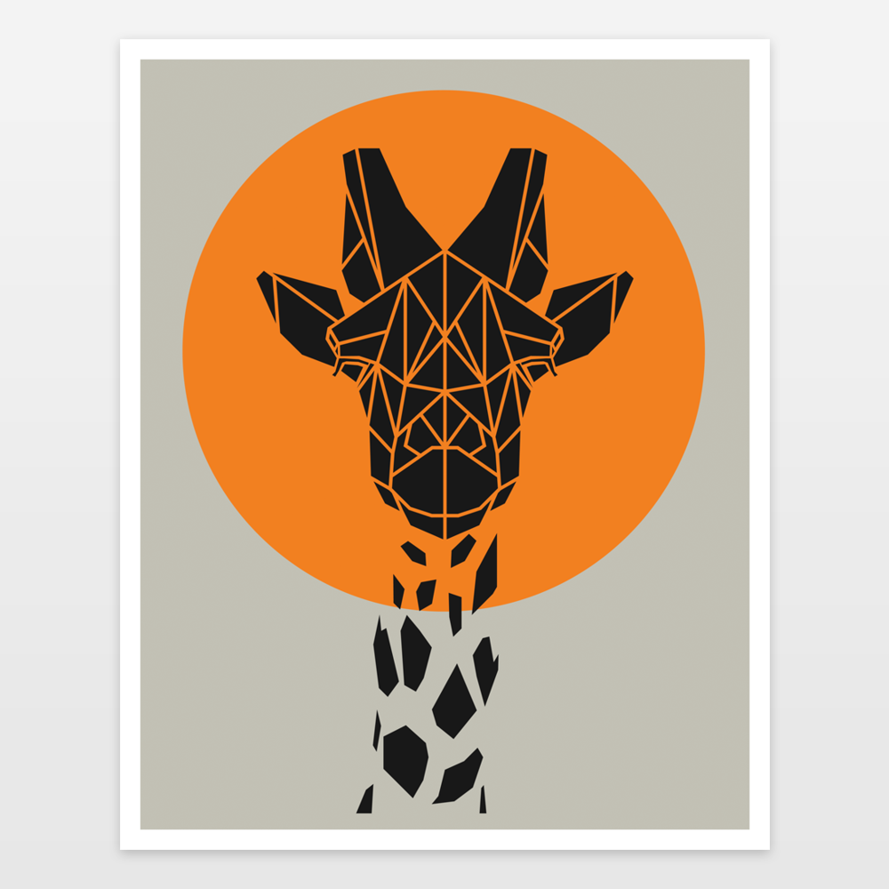 Animal Art Cute Geometric Giraffe On Orange And Grey