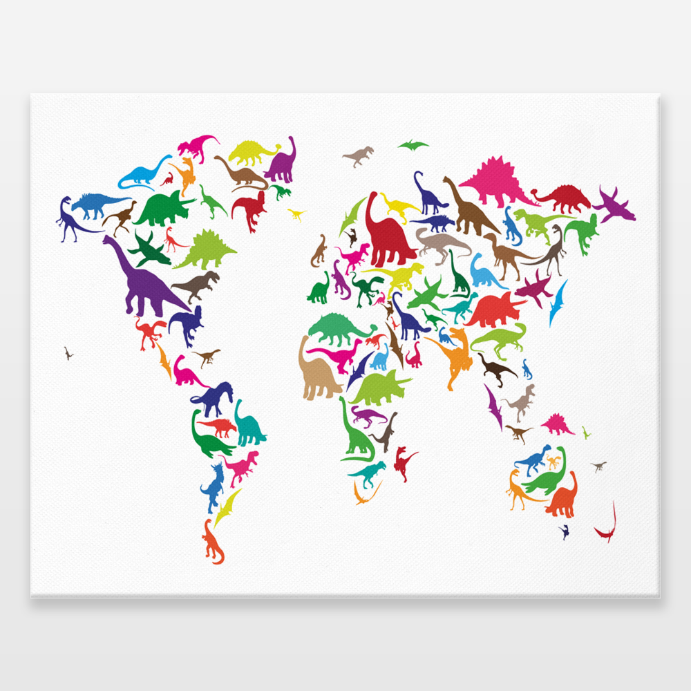 Dinosaur map of the world map wrapped canvas print by artpause on dinosaur map of the world map wrapped canvas print by artpause on boomboomprints gumiabroncs Image collections