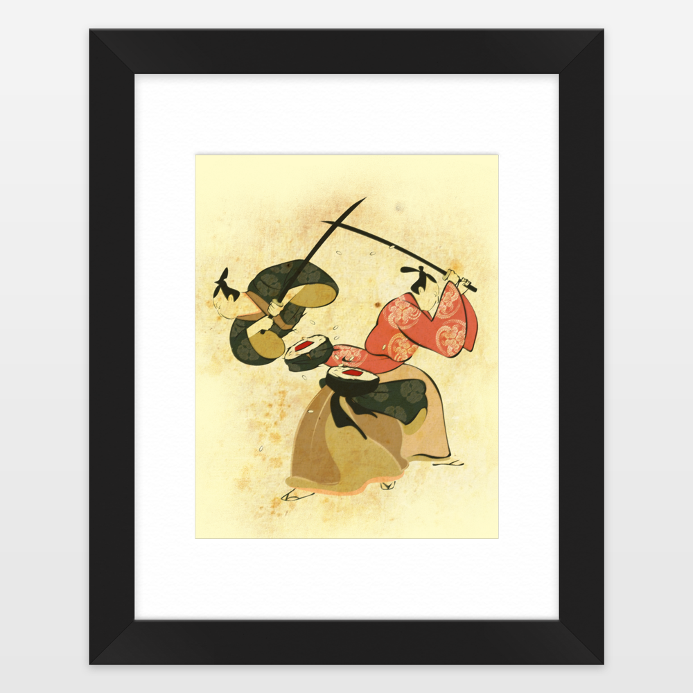 Samurai Sushi Framed Art Print by flyingmouse365 on BoomBoomPrints