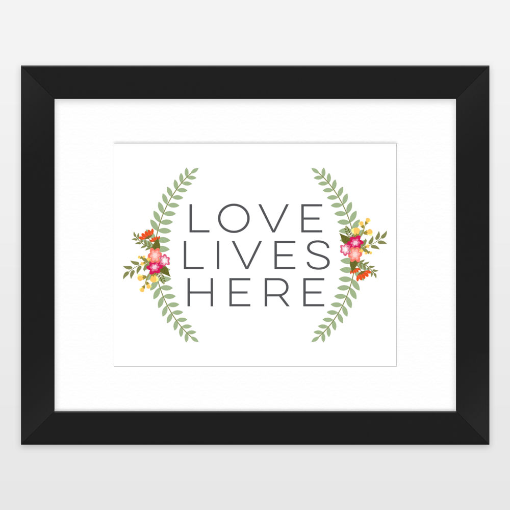 Love Lives Here Floral Wreath