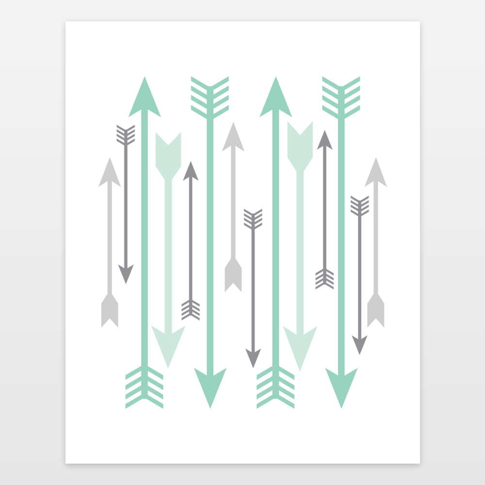 Mint And Gray Arrows Art Print By Thelionandthelark On