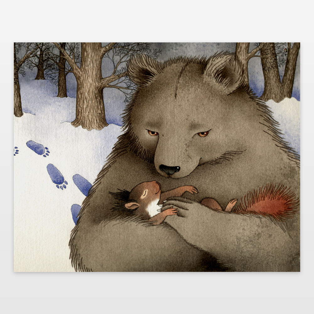 Squirrel And Bear Art Print By Barbarajelenkovich On