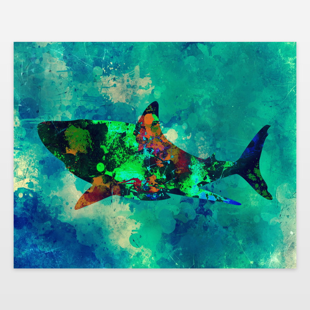 Shark Color Splash Art Print by animalsandnature on BoomBoomPrints